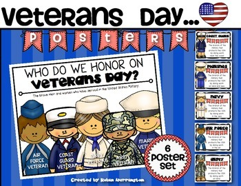 {Veterans Day Poster Set} for the Classroom Kindergarten and First Grade
