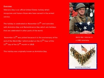 Veterans Day - Power Point - History Facts Pictures Information