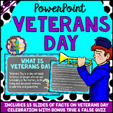Veterans Day PowerPoint Editable (All About Veterans Day Facts & Quiz Included)