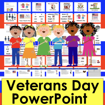 Veterans' Day PowerPoint - Mini Book Slides, Songs, Poems & Vocabulary Slides