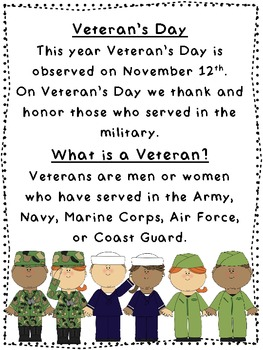 Veteran's Day Primary Printables
