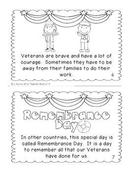 Veterans Day Printable Book for Guided Reading Shared Reading