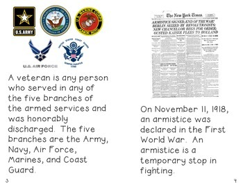 Veterans Day Unit with Nonfiction Book and Craftivites-Common Core Aligned