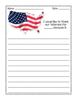 Veterans Day Prompts & No Prep Card! Thank a Vet!