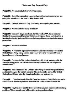Veterans Day Puppet Play
