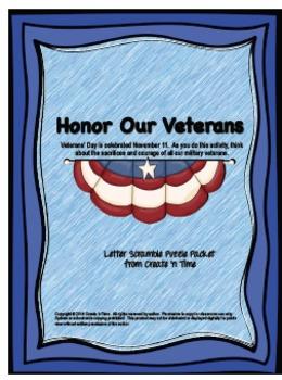 Veterans Day November 11 Letter Scramble Puzzle Activity