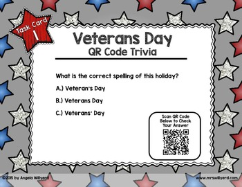 Veterans Day QR Code Trivia Task Card Scoot Game