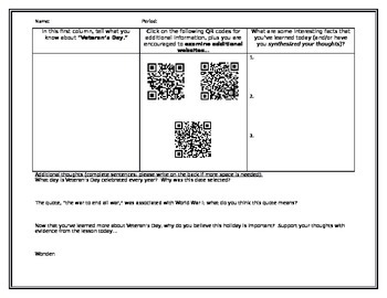 Veteran's Day QR Document with Synthesizing Questions