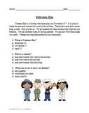 Veterans Day Read and Answer Comprehension Questions, Writ
