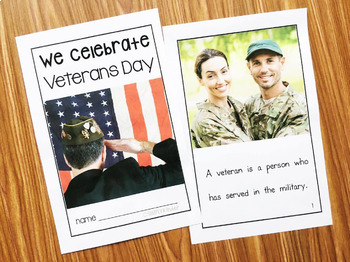 Veterans Day Kindergarten - Nonfiction Book with Activities