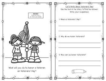 {Veterans Day Reader} for First Grade and Kindergarten Social Studies