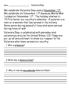 Veteran's Day Reader with Comprehension Questions