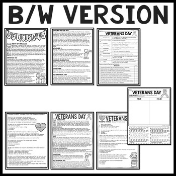 Veterans Day Reading Comprehension Worksheet, November 11, Holidays