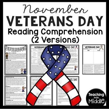 Veterans Day Reading Comprehension Worksheet, November 11,
