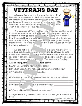 Veterans Day Reading Comprehension and Letter Writing