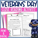 Veterans Day Reading Comprehension, Graphic Organizer   Ve