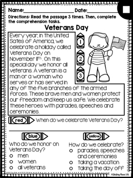 Veterans Day Reading Passages Differentiated