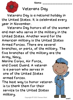 Veterans Day Reading and Writing Activity: Level I