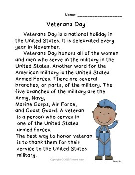 Veterans Day Reading and Writing Activity Level A