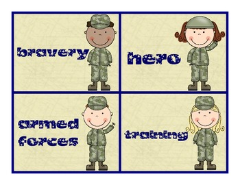 Veteran's Day - Remembering Our Armed Forces - Word Card Freebie