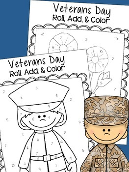 Veterans Day Roll, Color, & Add Activity Sheets