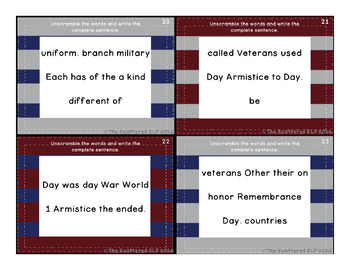 Veterans Day Sentence Scramble Task Cards