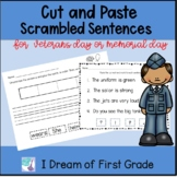 Veterans Day Sentences - Cut and Paste Word Order and Punctuation