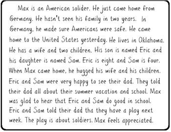 Veterans Day Short Story & Question Worksheet