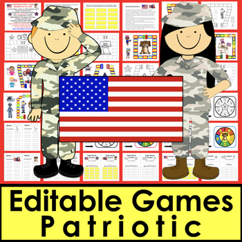 Veterans' Day  Sight Words Game Board Activities - EDITABLE Set 1