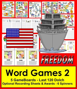 Veterans' Day Sight Words Game Boards - Set 2 - Last 120 Dolch
