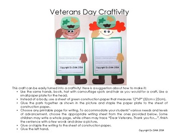 Memorial and Veterans Day Crafts and Craftivity: Soldiers and Poppy Flower