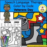 Veterans Day Speech Therapy Color By Code Grab and Go Activity