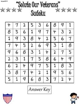 Veteran's Day Sudoku for Upper Elementary