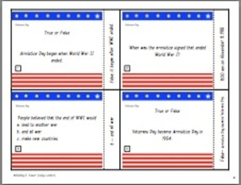 Veterans Day Task Cards
