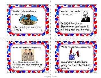 Veterans Day: Task Cards, Writing Prompts, Close Readings