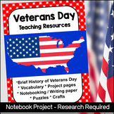 Veterans Day Teaching Resources (Vocabulary, Projects, Cra
