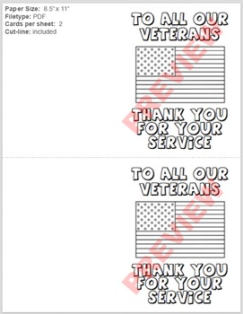 Veterans Day - Thank You For Your Service Coloring Card