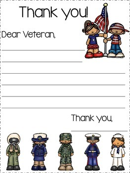 Veterans Day Thank You Letter {FREEBIE}