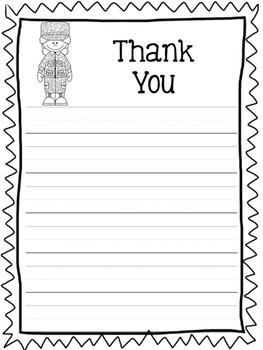 Veterans Day Thank You Letter Paper