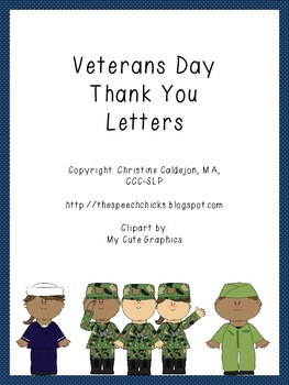 Veterans day thank you letters by the speech chicks tpt for Veterans day thank you letter template
