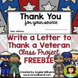 Veterans Day: Thank a Veteran Letter Template FREEBIE