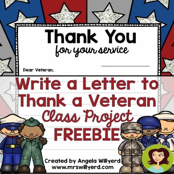 veterans day thank a veteran letter template freebie