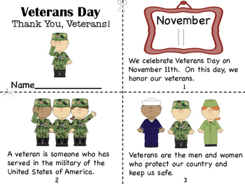 Veterans Day - Thank you, Veterans! Mini Book and Coloring Pages
