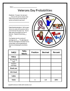 Veterans-Day-Themed Fraction, Decimal & Percent Probabilities Using a Spinner