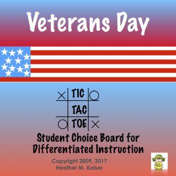 Veterans Day Tic Tac Toe Choice Board