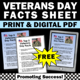FREE Veterans Day Facts, Veterans Day Reading Passage, November Activities