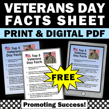 FREE Download Veterans Day Fun Facts for Social Studies Ce