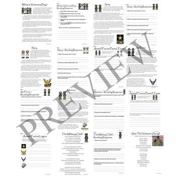 Veterans Day and U.S. Armed Forces Activity Packet