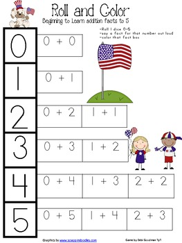 Veteran's Day--USA Addition game to 5
