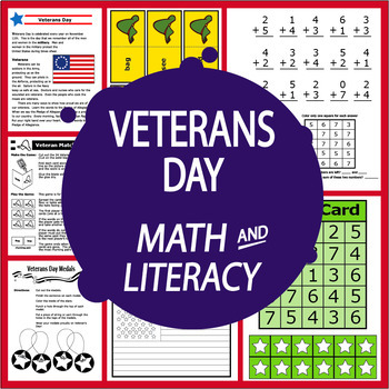 Veterans Day National Holidays Unit–2 Lessons, 8 Veterans Day Activities & Games